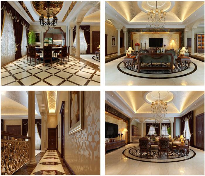 此别墅客厅及餐厅面积比较大,空间较高。房屋格局是土木建筑师独立设计,所以在格局上设计比较顺利,主要充分考虑本案的豪华复古风格,造型,以及整体色彩搭配效果。并且着重的设计了客厅及餐厅的欧式感觉,进入大门后,映入眼帘的便是客厅以及餐厅,空间十分宽敞,所以本案采用的大理石背景墙,整体感觉奢华而高贵。
