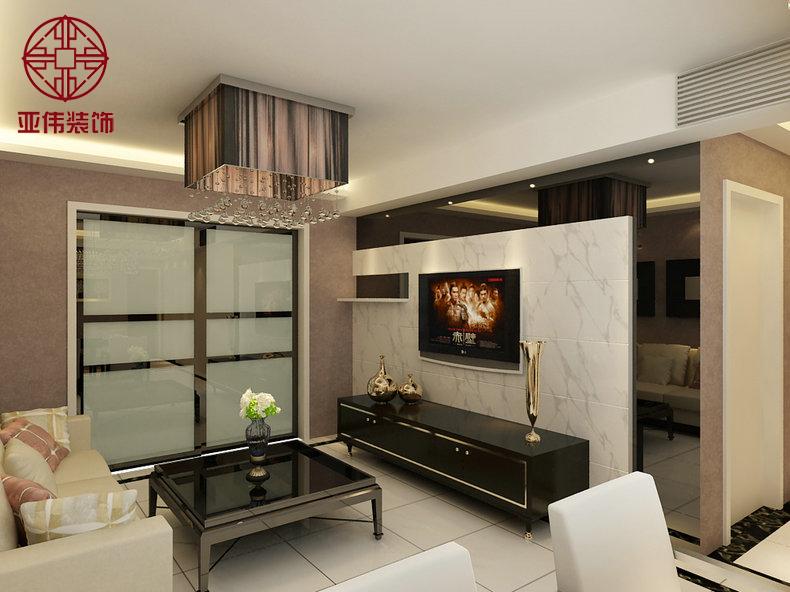 【客厅】客厅白色大理石背景墙搭配褐色烤漆玻璃