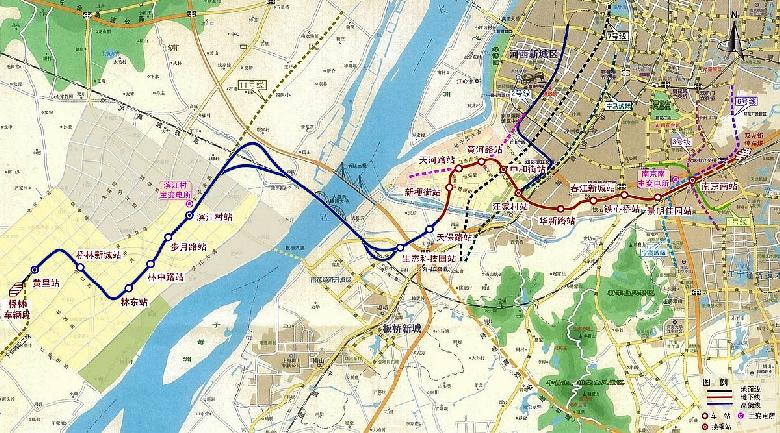 下面是详细的站名和线路图,生态科技园站是目前距离朗诗绿街最近