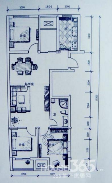 房间设计图纸三室一厅展示