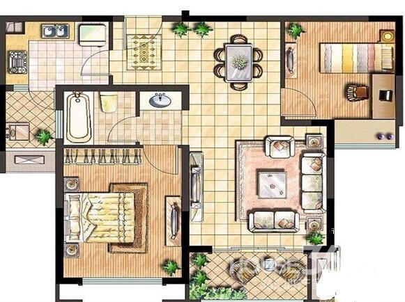 120平方一楼四房一厅设计图