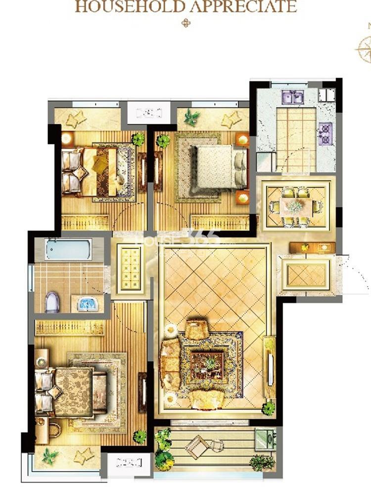 苏宁威尼斯水城12街区6、8、9、10、11#标准层A-1户型(7.28)