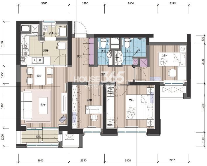 高层B户型 3室2厅2卫 109平米