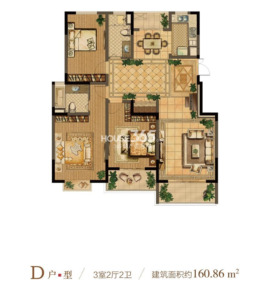 中电颐和府邸一期小高层户型D户型 3室2厅1厨2卫