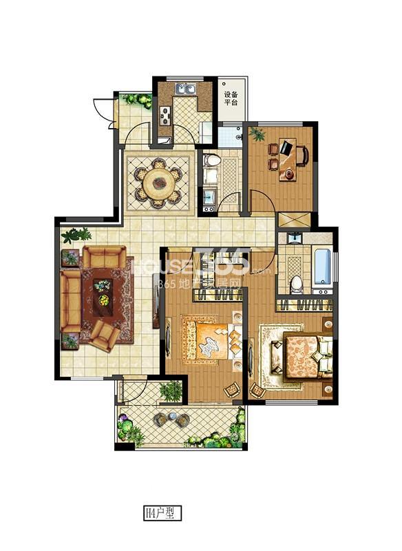 中电颐和府邸二期洋房标准层 H4户型  三房两厅两卫