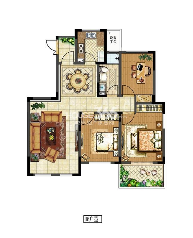 中电颐和府邸二期洋房标准层 H6户型 三房两厅一卫