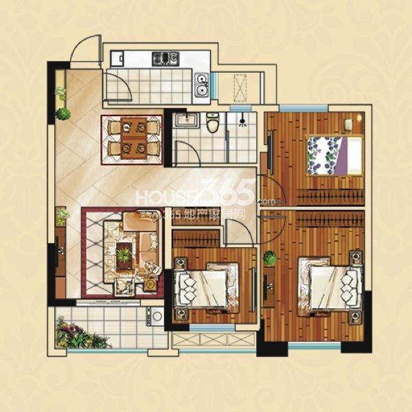 宝业学府绿苑 B2三室两厅一卫 104.9㎡