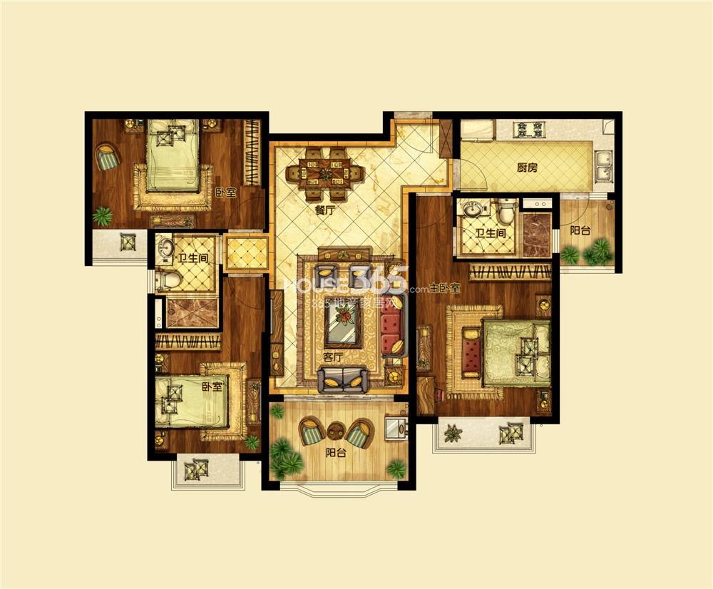 恒大翡翠华庭1期标准层B户型 三房两厅两卫