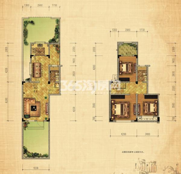 13#绿地世纪城布鲁斯小镇 三室两厅一厨两卫两庭院 113.36㎡