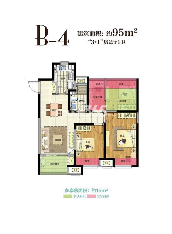 新城玖珑湖24号楼95平方米户型