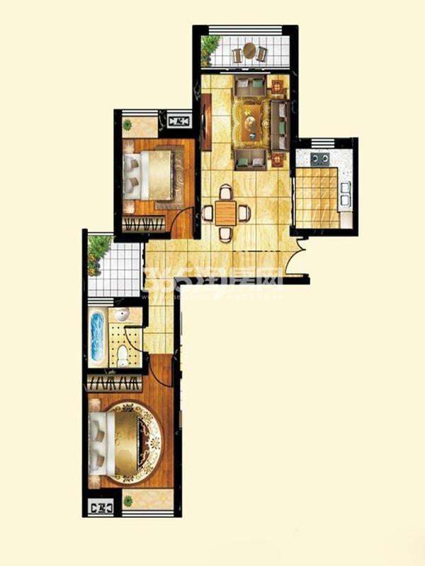 薇乐如意园户型图六号楼两室两 面积 99.45㎡ 2室2厅1卫1厨