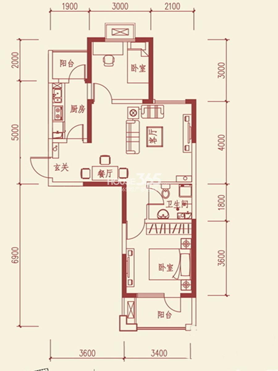 鲁班尚品两室两厅一卫81.80平米户型图