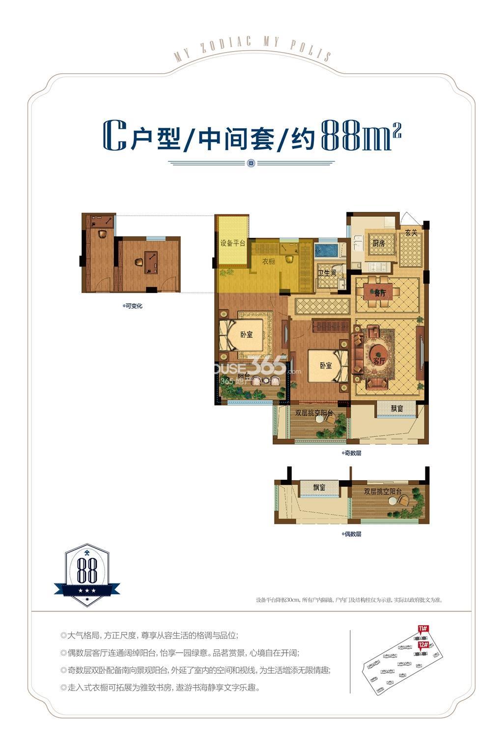 昆盛肖邦C户型中间套88方(11、12号楼)