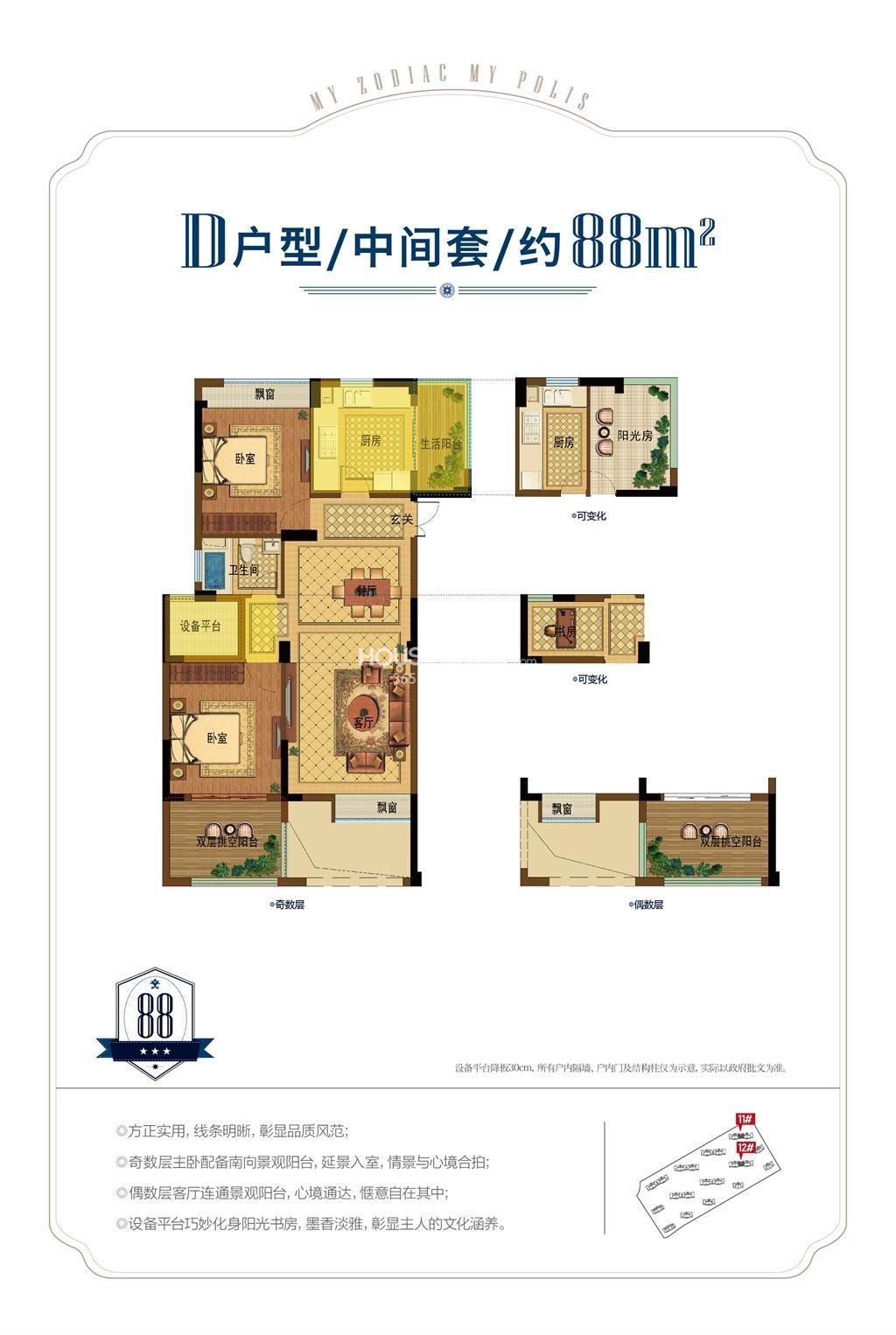 昆盛肖邦D户型中间套88方(11、12号楼)
