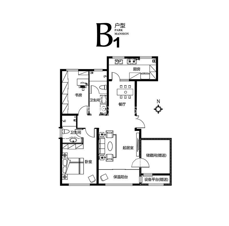 B1户型 2室2厅2卫 124㎡(售完)