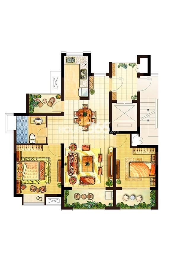 卓兴澜庭户型图高层1#2#3#5#标面积90.00平米