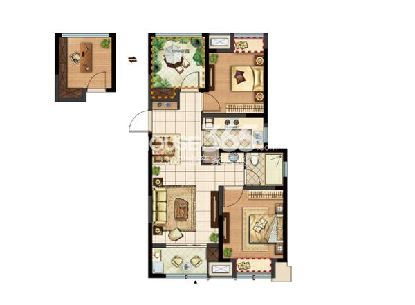 新城郡未来A1-1户型96㎡可改造成三房两厅一卫