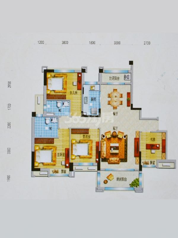 J562T(A)户型 面积:约150㎡ 四室两厅一厨两卫