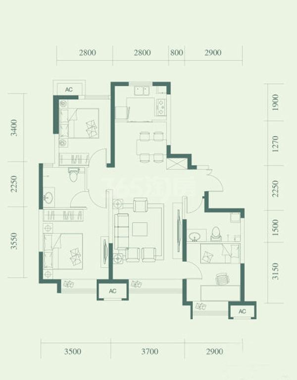 E户型, 3室2厅2卫, 约108.00平米
