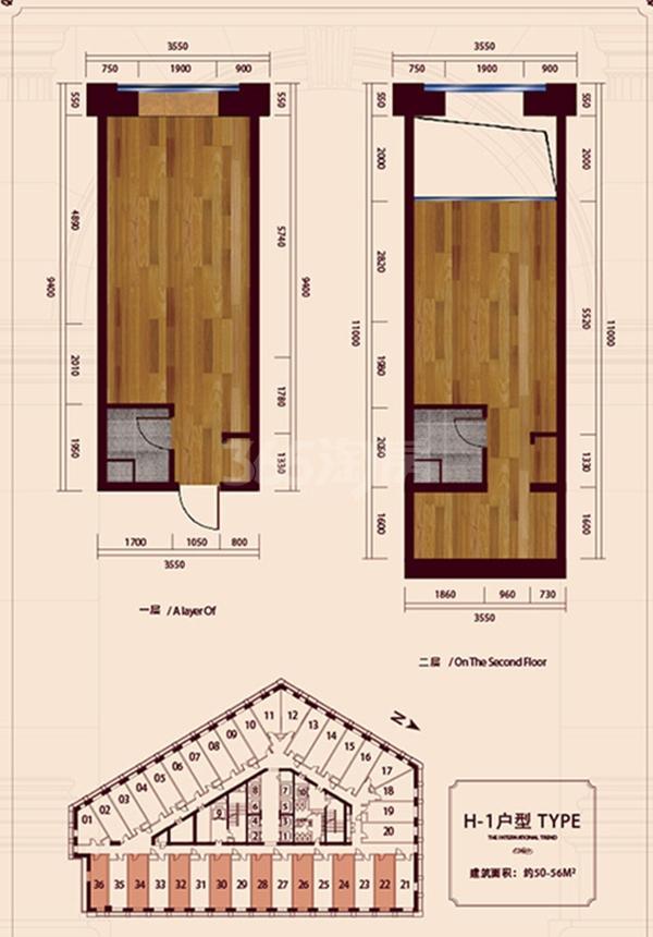 公寓标准层H1户型 1室1厅1卫1厨 56㎡
