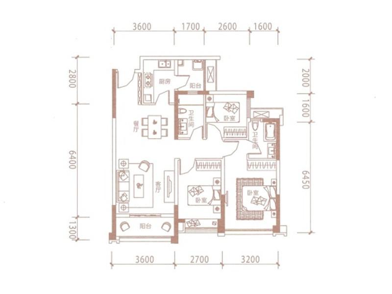 B1户型 3室2厅2卫 90平米
