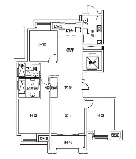 宝能城1、2#楼140平户型