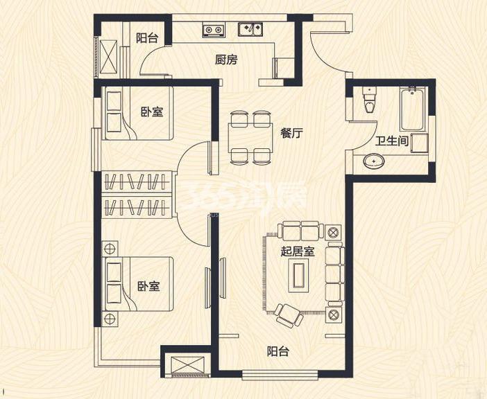 高层1、7、8号楼标准层C户型 2室2厅1卫 91平米