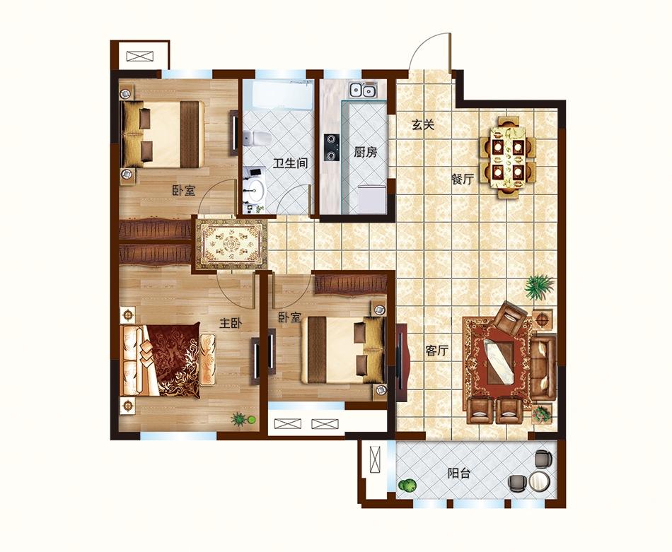 C户型-110㎡-三室两厅一卫