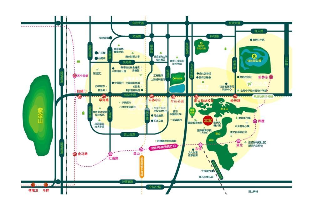 中南山锦花城交通图