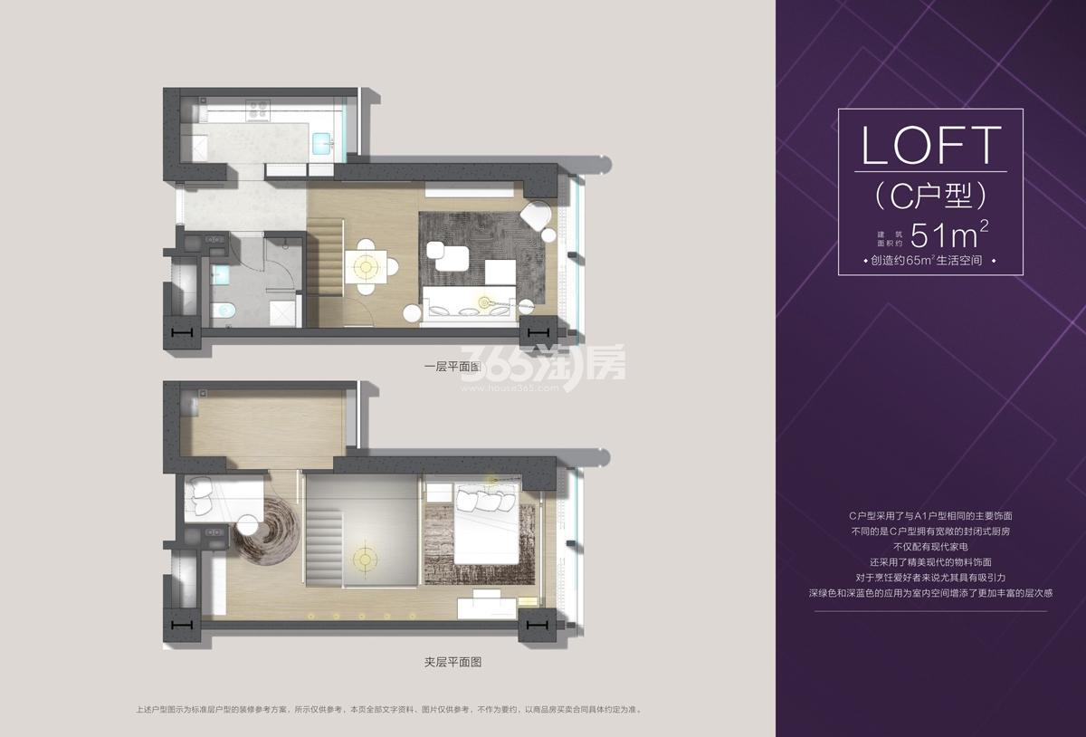 欧美金融城(EFC)项目T7公寓C户型51方