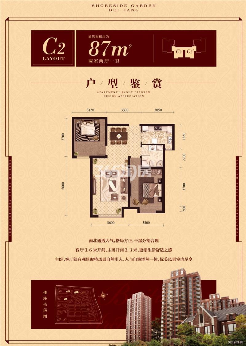 C2户型 两室87平米