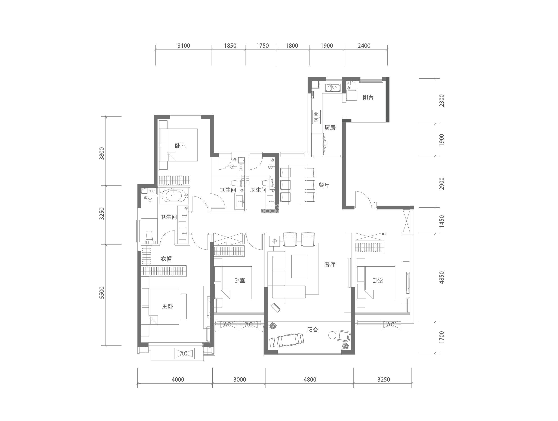 T2C-3户型 四室两厅一厨三卫 建筑面积约192㎡