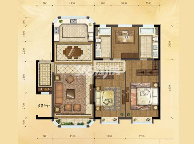 洋房A户型 3室2厅2卫 150.00㎡