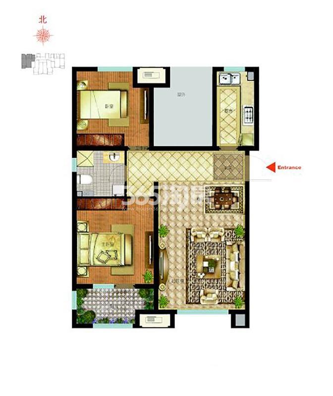 C1户型 92平米 2室2厅1卫