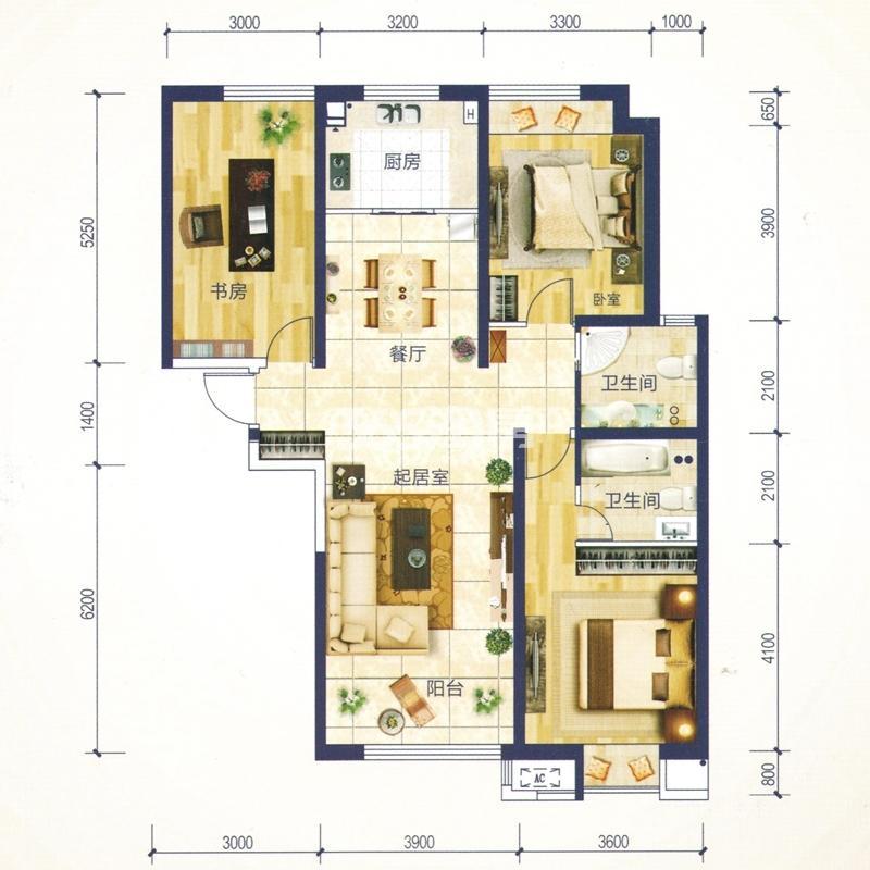 C3户型 建筑面积约136.26㎡ 三室两厅一厨两卫
