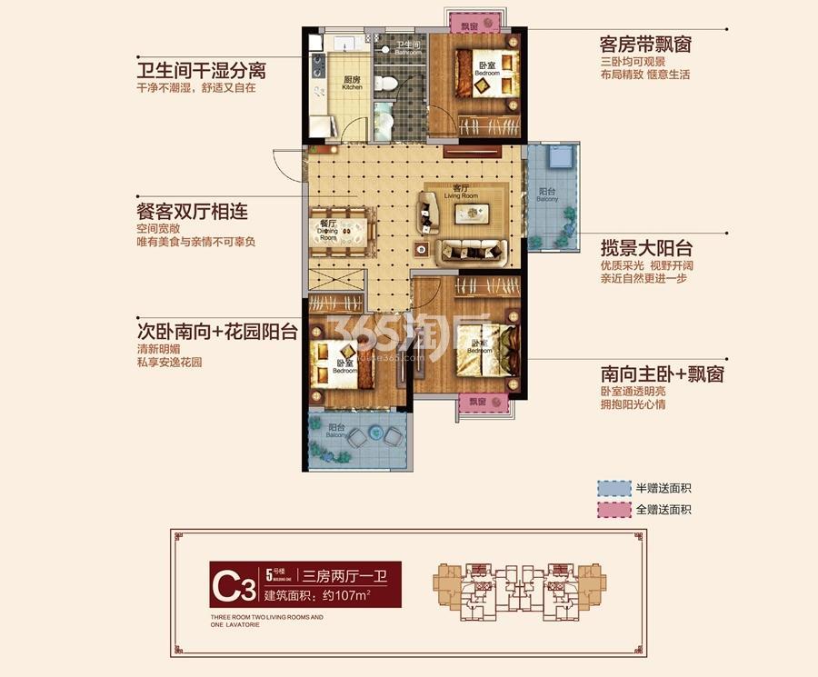 东方龙城清荷苑5#C3户型