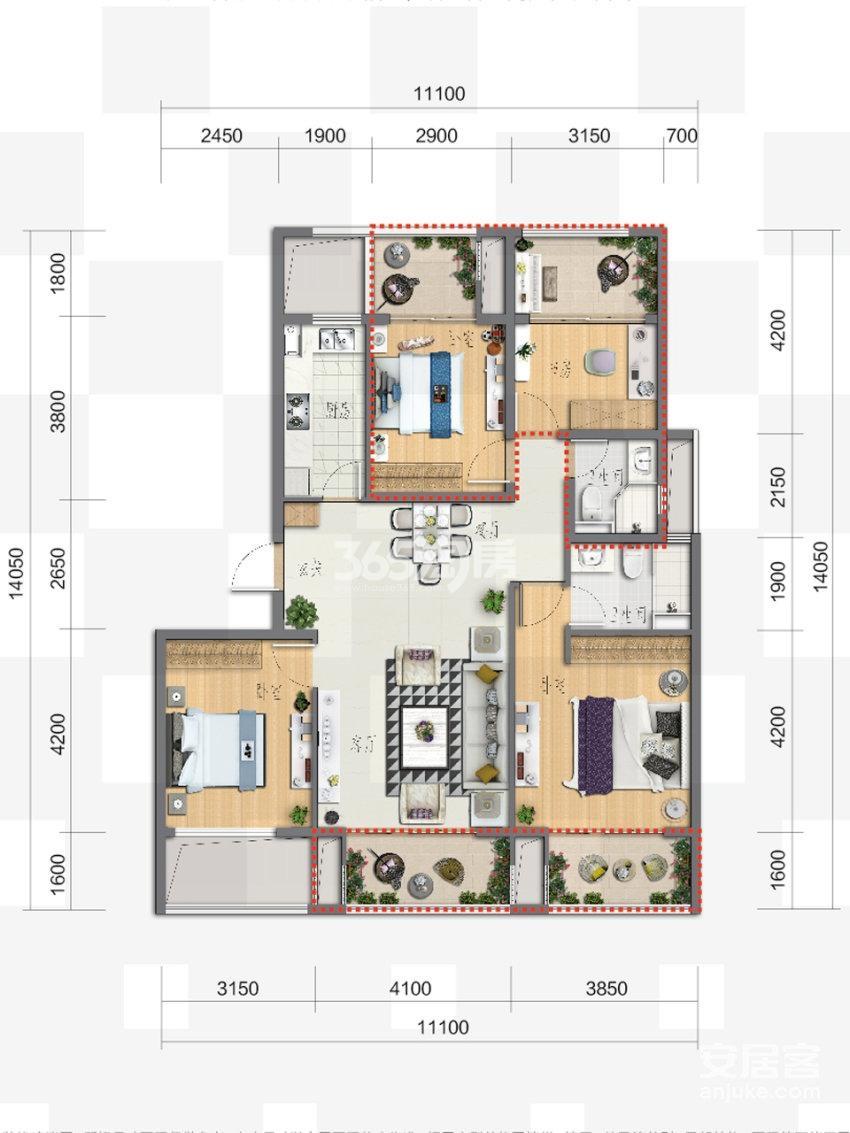 富力新线公园4、5号楼115方四室两厅两卫户型图