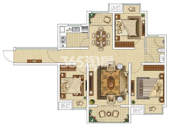 E4(反)三室两厅户型图