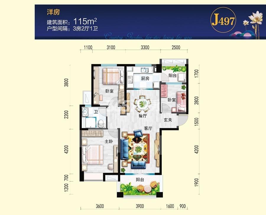 碧桂园镜湖春色J497-C户型图