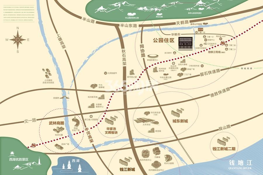 新城龙湖湾上风华交通图