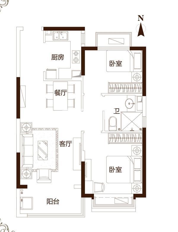 89㎡两室户型