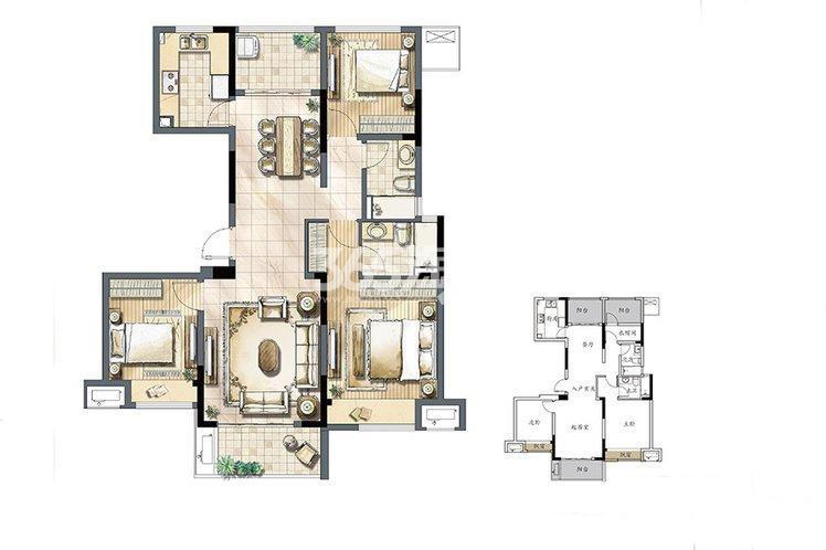 建发独墅湾 高层82#D1户型125㎡
