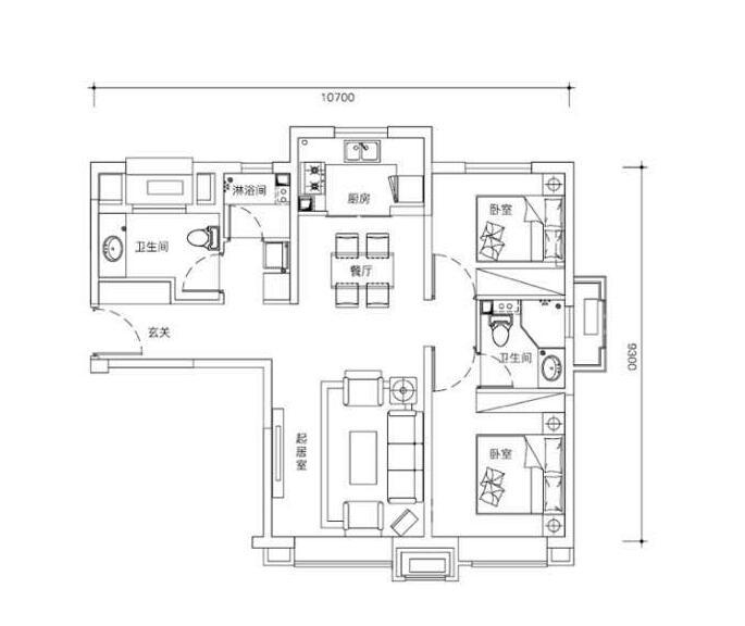 高层93平米两室两厅两卫