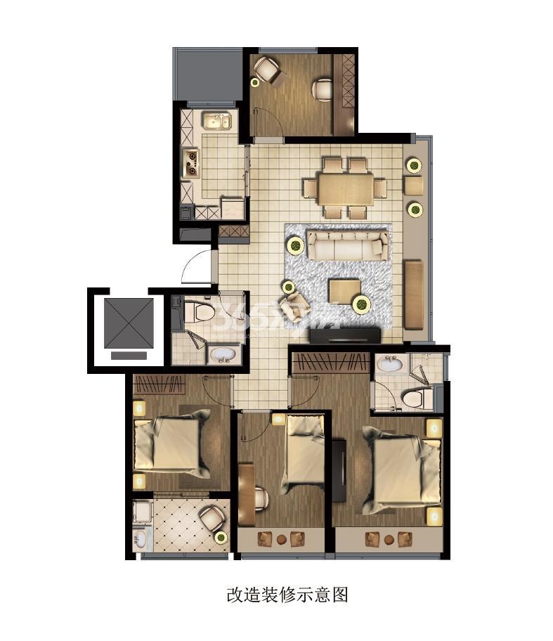 钱江彩虹府99方四室两厅一厨两卫户型