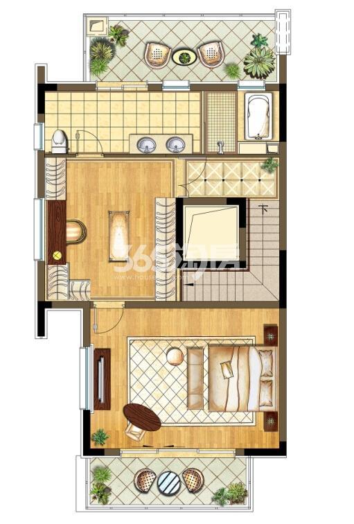 瑞安翠湖山西边01室A1户型3层