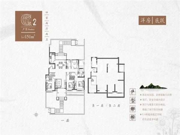 红星紫御半山C2洋房底跃4室2厅2卫1厨151平米