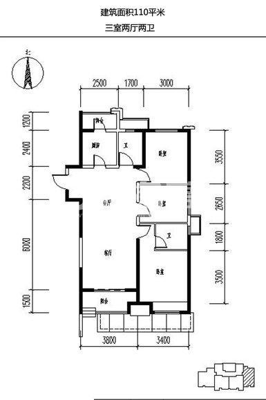 保利天悦3室2厅2卫1厨110.00㎡