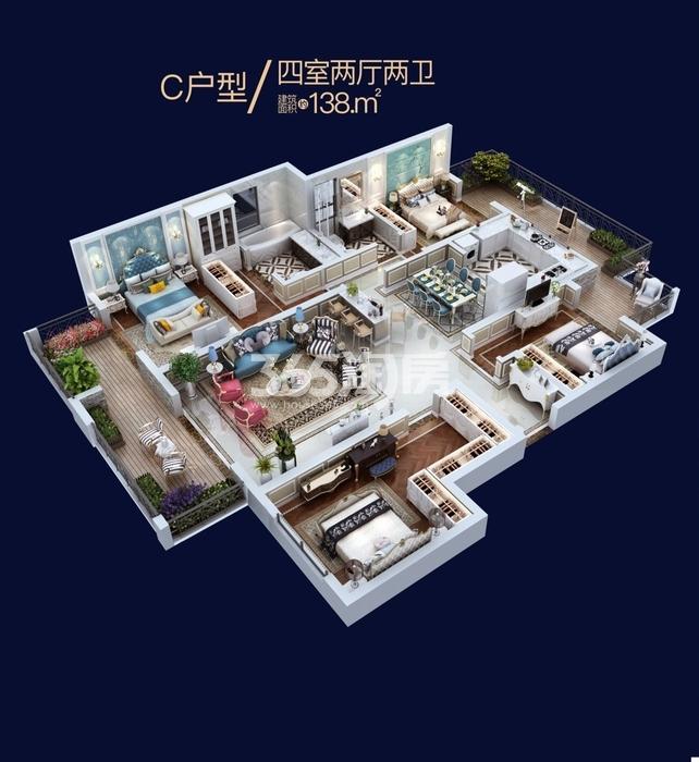 南飞鸿十年城罗曼尼C户型平层四室两厅两卫一厨138㎡