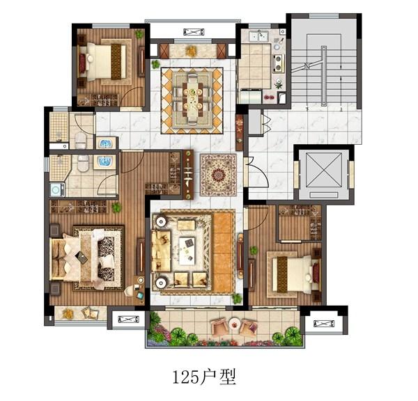 观澜别院洋房125平户型