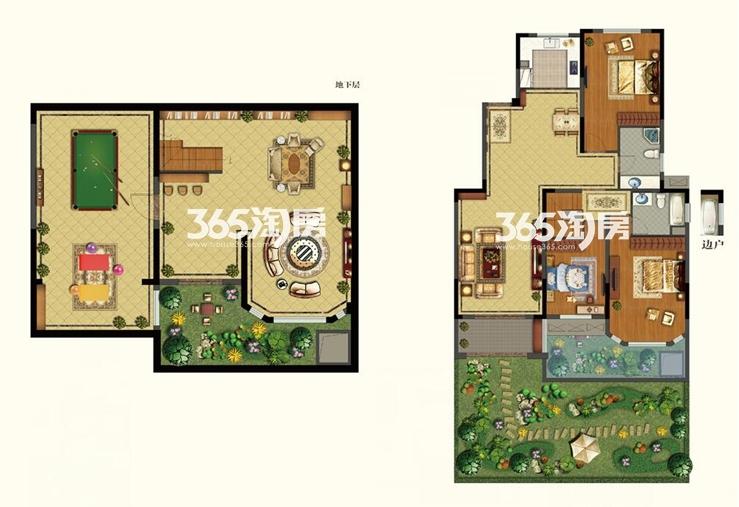 康诗丹郡28#楼一层带地下室246-249.65平户型图